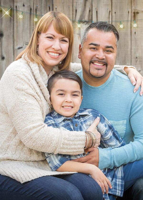 mixed race family photo