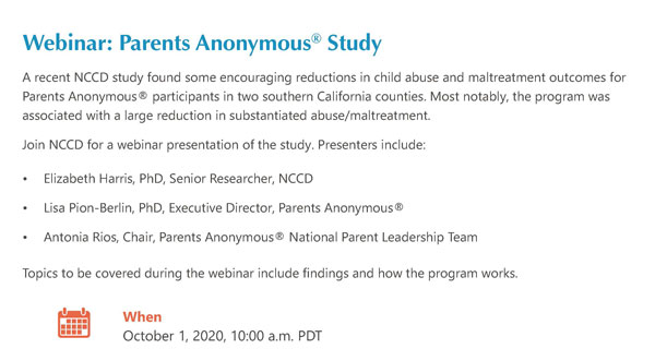 Webinar: Parents Anonymous® NCCD Study
